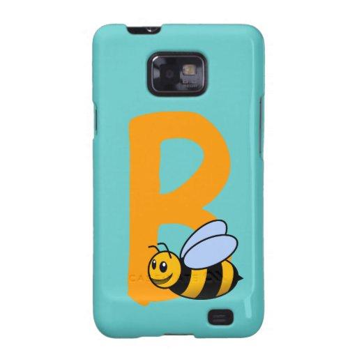 Monogram initial letter B, cute bee cartoon custom Samsung Galaxy SII Case
