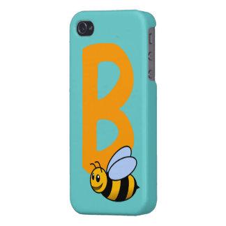 Monogram initial letter B, cute bee cartoon custom iPhone 4/4S Cover