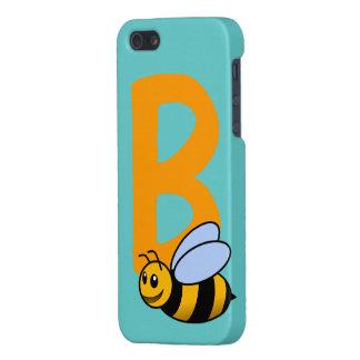 Monogram initial letter B, cute bee cartoon custom iPhone SE/5/5s Case