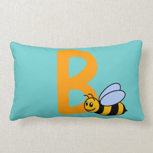 Monogram initial letter B, cute bee cartoon custom Throw Pillow