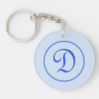 Monogram initial letter D blue hearts circle, gift Keychain