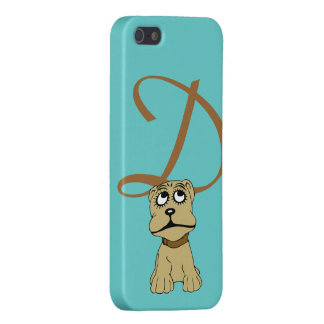 Monogram initial letter D, cute dog cartoon custom Cover For iPhone SE/5/5s