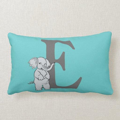 Monogram initial letter E, cute elephant custom Throw Pillows Zazzle