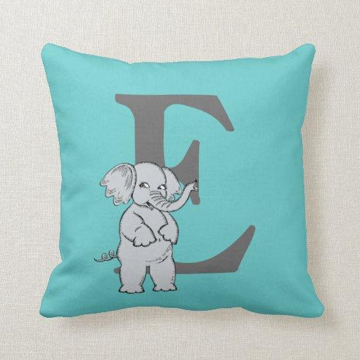 Monogram initial letter E, cute elephant custom Throw Pillow Zazzle