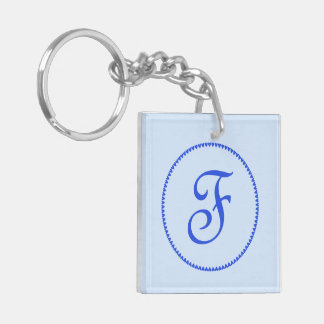 Monogram initial letter F blue hearts circle, gift Double-Sided Square Acrylic Keychain