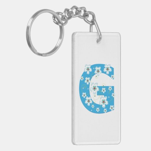 Monogram initial letter G blue hibiscus flowers Keychain