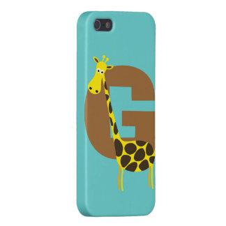 Monogram initial letter G, giraffe cartoon custom Case For iPhone 5