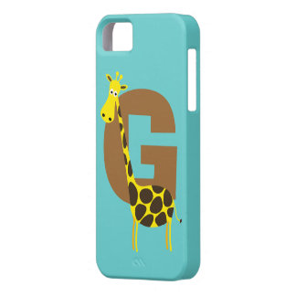 Monogram initial letter G giraffe cartoon custom iPhone 5 Case