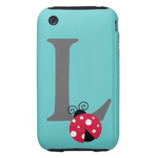 Monogram initial letter L cute ladybug custom Tough iPhone 3 Case