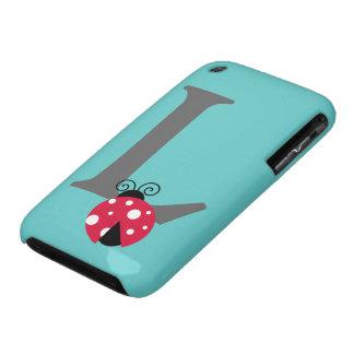 Monogram initial letter L cute ladybug custom Case-Mate iPhone 3 Case