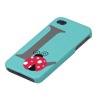 Monogram initial letter L cute ladybug custom iPhone 4/4S Case