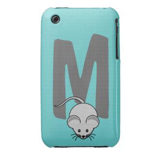 Monogram initial letter M, mouse cartoon custom iPhone 3 Case