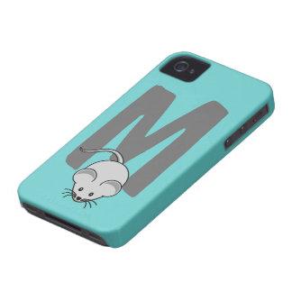 Monogram initial letter M, mouse cartoon custom iPhone 4 Case-Mate Cases