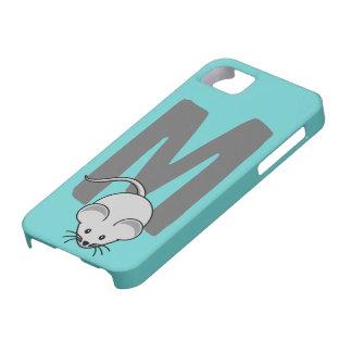 Monogram initial letter M, mouse cartoon custom iPhone 5 Cases