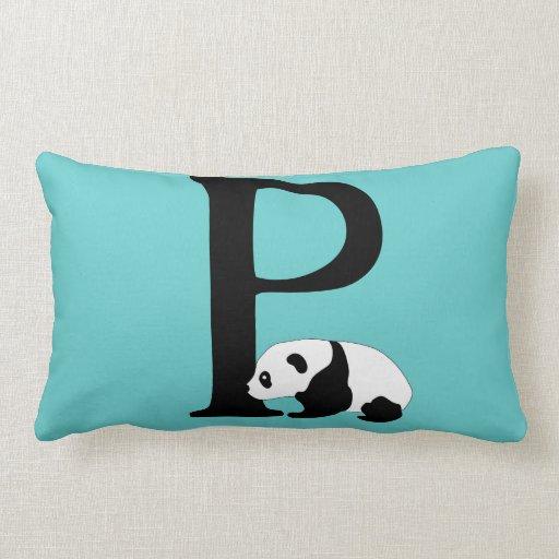 Monogram initial letter P, cute panda bear custom Pillows