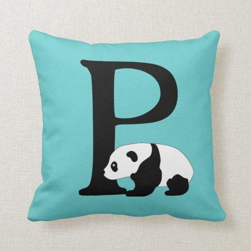 Letter P Throw Pillow : Monogram initial letter P, cute panda bear custom Throw Pillow Zazzle