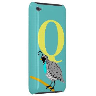 Monogram initial letter Q, beautiful quail custom iPod Case-Mate Case