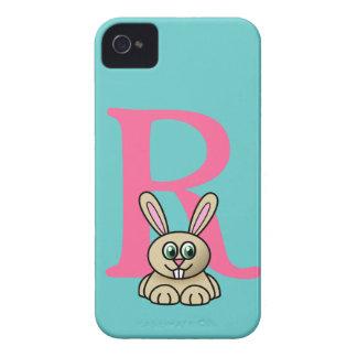 Monogram initial letter R, rabbit cartoon custom iPhone 4 Case