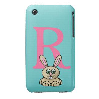 Monogram initial letter R, rabbit cartoon custom iPhone 3 Covers