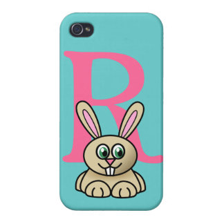 Monogram initial letter R, rabbit cartoon custom iPhone 4/4S Case