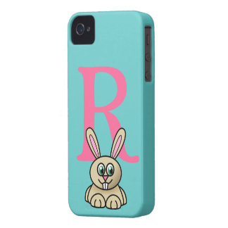 Monogram initial letter R, rabbit cartoon custom iPhone 4 Case