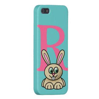Monogram initial letter R, rabbit cartoon custom iPhone SE/5/5s Cover