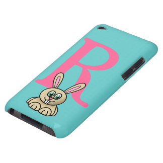 Monogram initial letter R, rabbit cartoon custom iPod Case-Mate Case