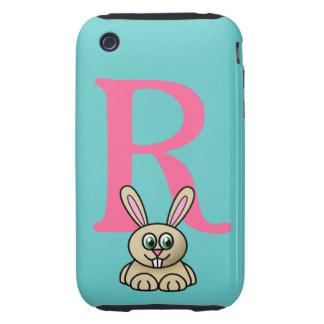 Monogram initial letter R, rabbit cartoon custom Tough iPhone 3 Case