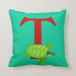 Monogram initial letter T, cute turtle custom gift Pillow