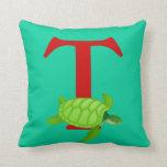 Monogram initial letter T, cute turtle custom gift Throw Pillows