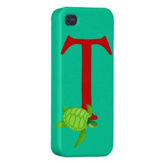 Monogram initial letter T,  cute turtle custom iPhone 4/4S Cover