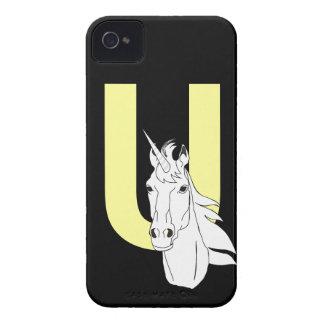 Monogram initial letter U beautiful unicorn custom iPhone 4 Cover