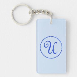 Monogram initial letter U blue hearts circle, gift Double-Sided Rectangular Acrylic Keychain