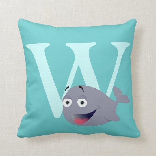 Monogram initial letter W cute whale custom Throw Pillow