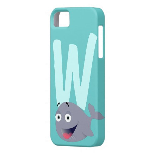 Monogram initial letter W, whale cartoon custom iPhone 5 Covers