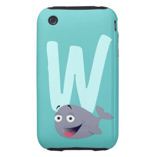 Monogram initial letter W, whale cartoon custom iPhone 3 Tough Cases