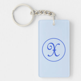 Monogram initial letter X blue hearts circle, gift Keychain