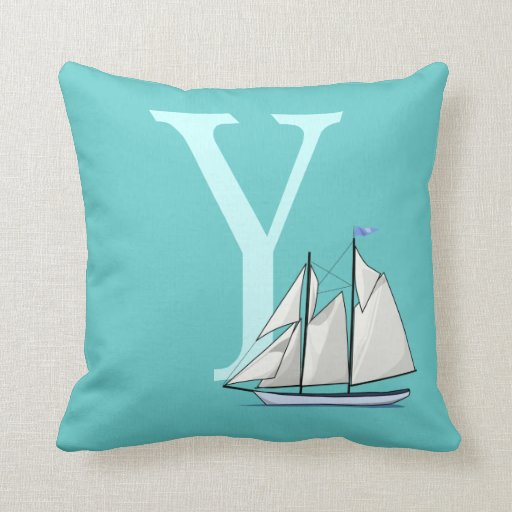 Monogram initial letter Y, yacht, boat custom, gif Pillow