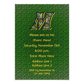 Monogram Initial M Daisies Green Floral Invite