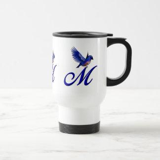 Monogram Initial M Elegant Bluebird Travel Mug