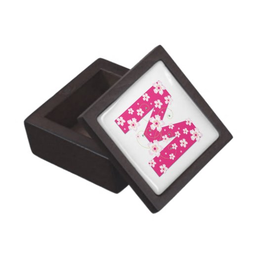 Monogram initial M floral jewelry, trinket box Premium Keepsake Box