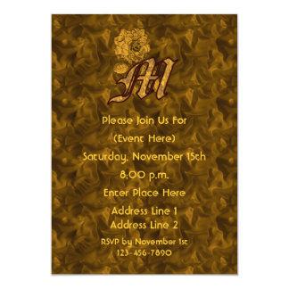 Monogram Initial M Gold Peony Elegant Invite