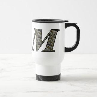 Monogram Initial M Hydrangea Floral Travel Mug