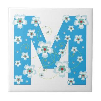 Monogram initial M pretty floral blue tile trivet