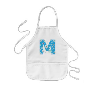 Monogram initial M pretty floral kids, girls apron