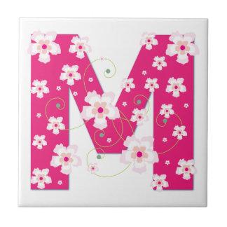 Monogram initial M pretty floral pink tile trivet