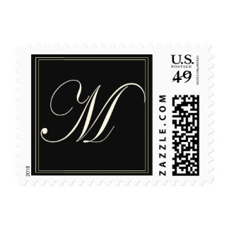 Monogram Initial M Small Black Postage