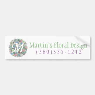 Monogram initial M Succulents design Bumper Sticker