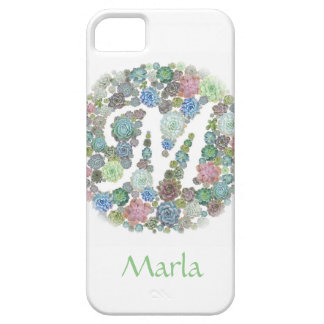Monogram initial M Succulents design iPhone SE/5/5s Case