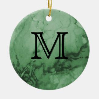 Monogram Initial Marble Stone Green Christmas Christmas Ornaments